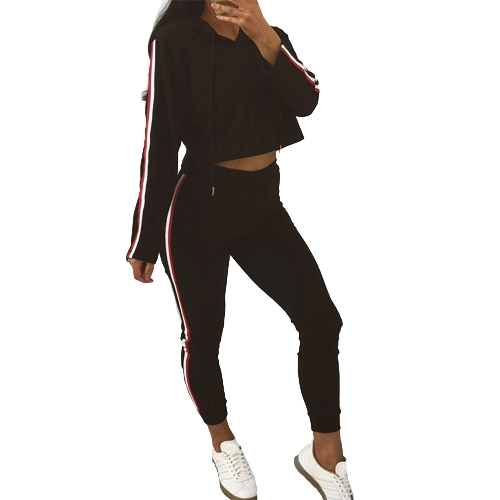 Mulheres Two Piece Set Tracksuit Hooded Drawstring Crop Top Sport Pants Side Stripes High Waist Casual Sweat Suit