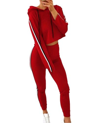 Conjunto de dos piezas de mujer Chándal con capucha con cordones Crop Top Sport Pants Side Stripes Cintura alta traje de chándal informal
