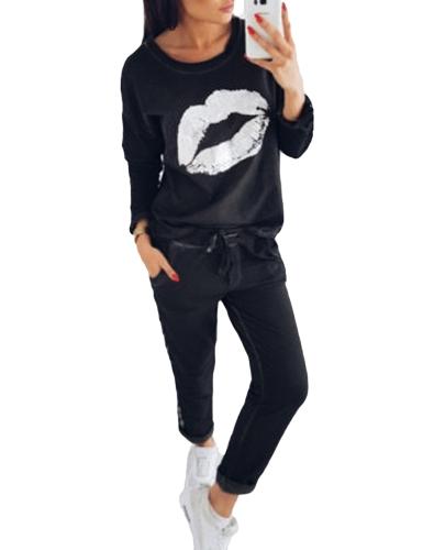 Mode Frauen Trainingsanzug Lippen Gedruckt Langarm Sweatshirt Striped Lange Hosen Casual 2 Stück Set Anzüge Schwarz / Royal Blue