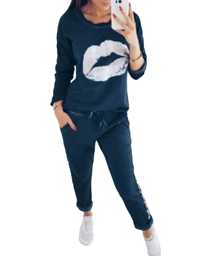 Mujeres de moda Chándal con estampado de manga larga sudadera con rayas pantalones largos Casual 2 piezas conjunto trajes negro / azul real