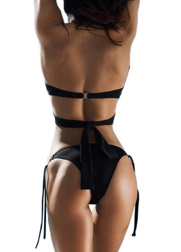 Sexy Frauen 2 Stück Badeanzug Solide Kreuz Halter Bikini Set Push Up Gepolsterter BH Bade Beachwear Bademode Schwarz