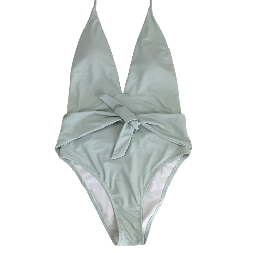 Mulheres One Piece Swimsuit Swimwear Halter Deep V-Neck Bow Sólido Traje de banho Beachwear Backless Monokini
