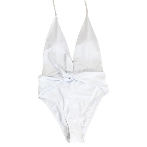 Mujeres traje de baño de una pieza traje de baño Halter profundo escote en V sólido traje de baño ropa de playa Backless Monokini