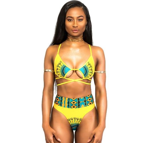 Mulheres Bikini Swimsuit Retro Étnico Straplado Strappy Conjunto de biquíni Sexy Bandage Natação Traje de banho Traje de banho Amarelo