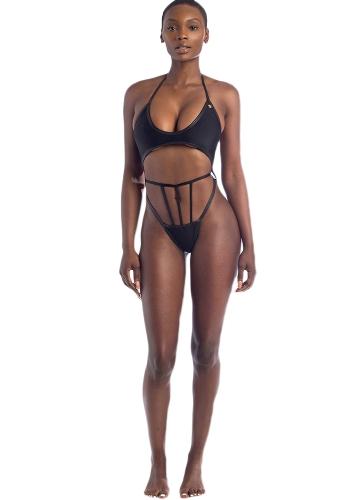 Nuevas mujeres atractivas Bikini Set cabestro alambre acolchado taza baja cintura ahueca hacia fuera la tanga Biquini Swimwear traje de baño