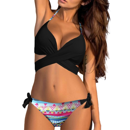 Conjunto de Bikini de mujer sexy Halter Cross Wire Free Padding Tanga de cintura baja Biquini Swimwear Swimsuit