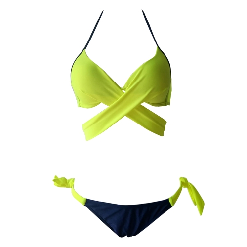Sexy Women Bikini Set Halter Cross Wire Free Padding Low Waist Thong Biquini Swimwear Swimsuit