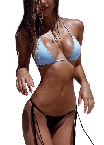 Sexy Women Bikini Set Solid Vendaje Strappy Halter Top Tanga Traje de baño de dos piezas Traje de baño de playa Traje de baño