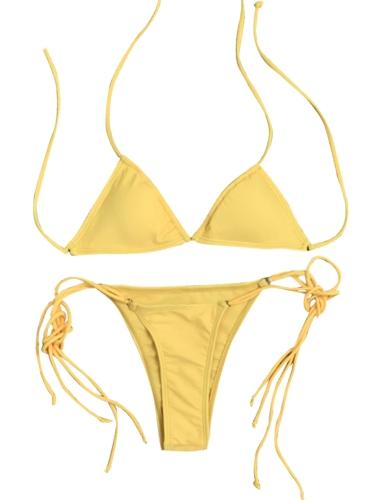 TOMTOP / Sexy Women Bikini Set Bandagem sólida Strappy Halter Top Thong Two-Piece Swimwear Beach Swimsuit Bathing Suit
