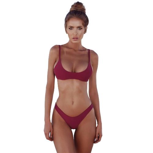 Nuevas mujeres atractivas Bikini Set traje de baño Push Up Sujetador acolchado de corte alto Bottoms traje de baño trajes de baño