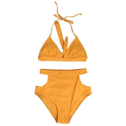 Bikini de cintura alta de mujer sexy conjunto de tirantes halter recortar traje de baño de dos piezas espalda sin espalda traje de baño