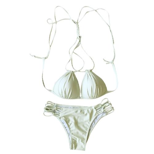 Bikini de mujer Set Triángulo Sólido Lace Up Vendaje Strappy trenzado acolchado sin respaldo Cut Out Sexy traje de baño de dos piezas