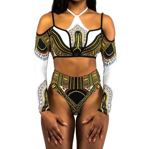 Las mujeres atractivas tallas grandes Bikini Set recortada Top mangas largas de cintura alta recortar 2 piezas traje de baño traje de baño