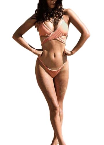 Bikini de mujer sexy conjunto profundo V Halter Cross Front corte alto cintura baja acolchado de dos piezas traje de baño traje de baño