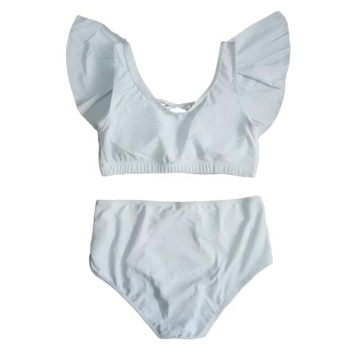 Las mujeres atractivas más el tamaño Bikini Set volantes impresos Ahueca hacia fuera Push Up Swimsuit Swimwear traje de baño de dos piezas