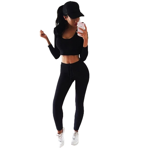 Sexy Women Conjunto de 2 peças combinado com capuz Top manga comprida ginásio Yoga Workout Fitness Pants Hoodie Leggings Suit Outfit Sportwear