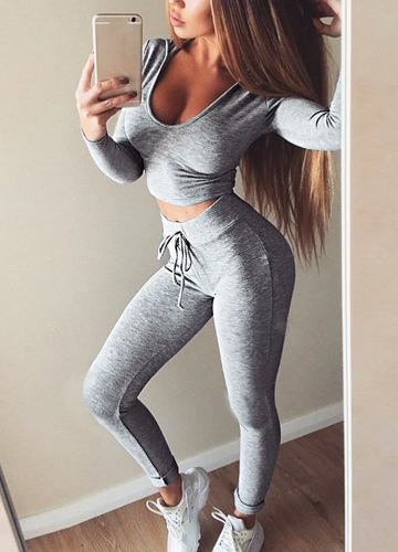Sexy Women 2-Piece Set Hooded Crop Top Long Sleeve Gym Yoga Workout Fitness Pants Hoodie Leggings Suit Outfit Sportwear
