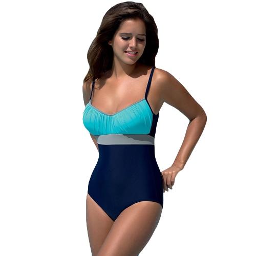Женщины One Piece Бикини Купальники Bodysuit Цвет Splice Bandage Пляжная одежда Монокини Купальник Batching Suit