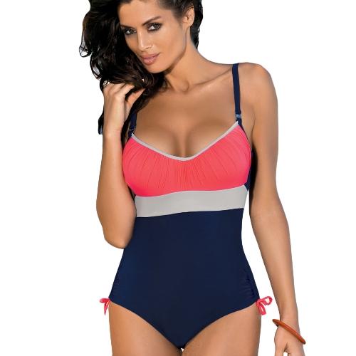 Bikini traje de baño de una pieza de las mujeres del color del vendaje del empalme del color desgaste de la playa Traje de baño del traje de baño de Monokini