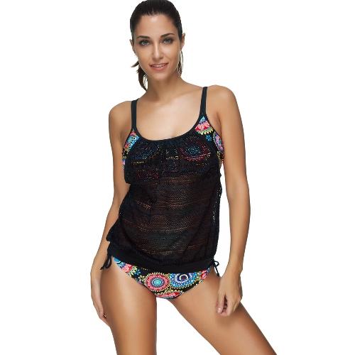 Frauen Bikini Set Bademode Badeanzug Tribal Blumendruck Strap häkeln Tankini zweiteilige Badeanzug Beachwear