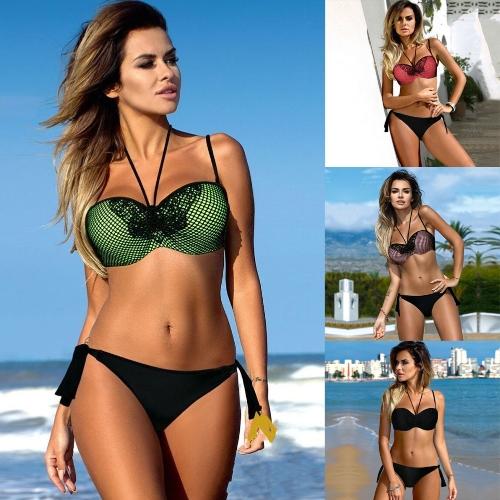 Sexy Women Bikini Set Block Bandage Strappy Halter Top Thong Two-Piece Swimwear Beach Swimsuit Bathing Suit
