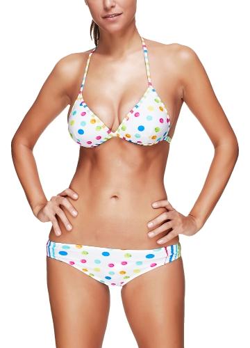 Women Bikini Set Dot Striped Print Plunge V Neck Halter Padded Wireless Two Piece Swimsuit