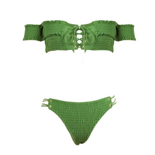 Sexy Frauen Smocked Bikini Set aus der Schulter Lace Up Badeanzug Badeanzüge zweiteilige Beachwear