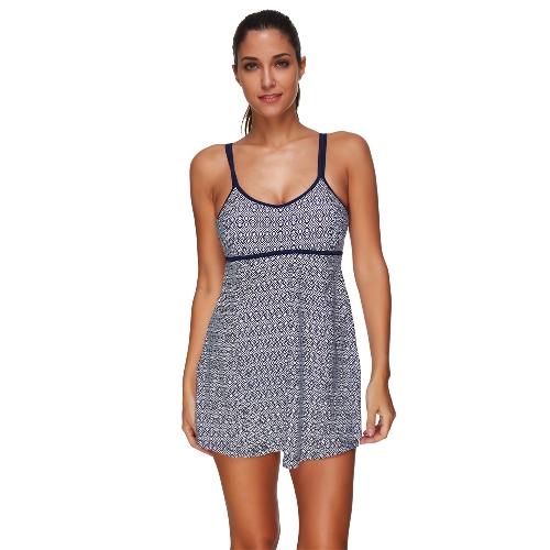 Nowych kobiet jednoczęściowy strój kąpielowy spódnica stroje kąpielowe geometryczne Drukuj wyściełane Push-Up Monokini Plus rozmiar strój kąpielowy ciemny niebieski / niebieski