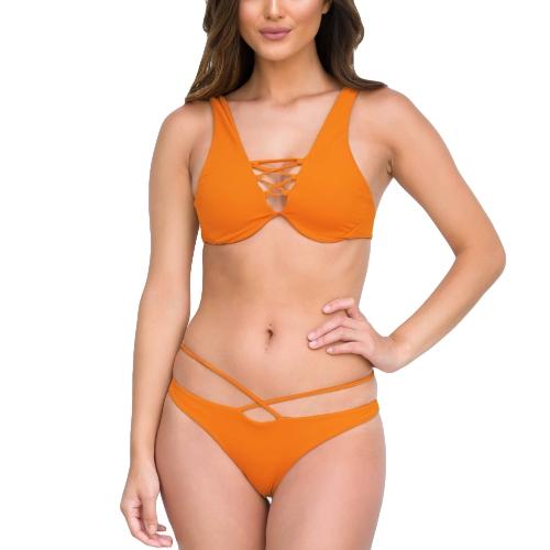 Nueva Sexy Women Strappy Bikini conjunto profundo escote en v sin espalda cintura baja tanga Biquini traje de baño traje de baño