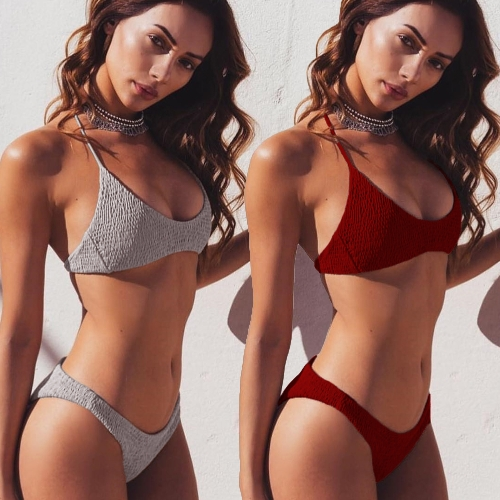 New Women Seersucker Plain Halter Bikini Sexy Ruffle Swimwear Bathing Suits Beach Swimming Suit Grey/Red