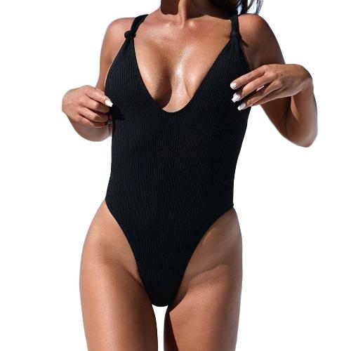New Sexy Women Ribbed Knotted Backless Monokini One Piece Swimsuit Deep V Neck High Cut Swimwear Beachwear