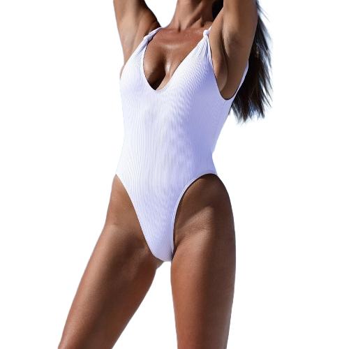 Nuevas mujeres acanaladas anudadas sin respaldo Monokini traje de baño de una pieza de cuello en V profunda de corte alto traje de baño ropa de playa