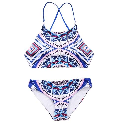 Sexy Women Halter Bikini Set estampado geométrico Tie Back cintura baja tanga Biquini Swimwear traje de baño azul