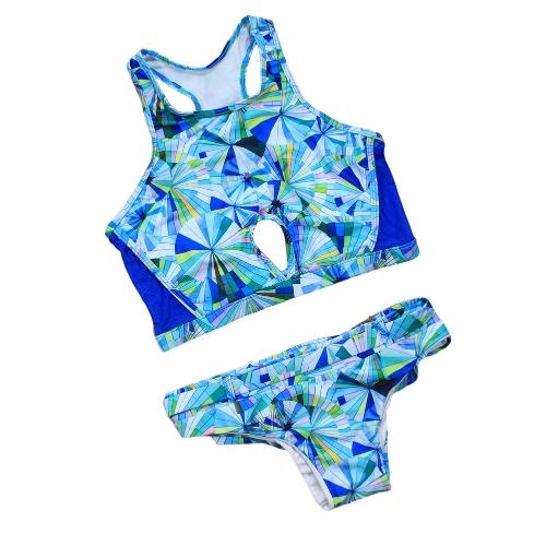 Frauen Bikini Set Mesh Geometrische Printed Tank Badeanzug Ausschnitt Low Waist Padded Bademode Badeanzug Blau
