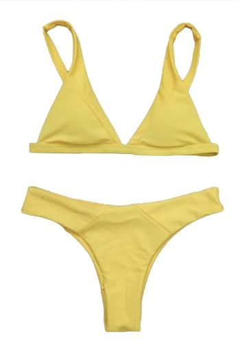 Bikini para mujer Set Triángulo sólido Copas Leopardo sólido acolchado Push Up Baja cintura Sexy Dos piezas traje de baño