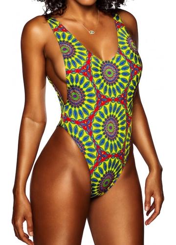 Mujeres atractivas traje de baño de una pieza traje de baño totems africanos imprimir Monokini Push Up traje de baño bikini bañados ropa de playa