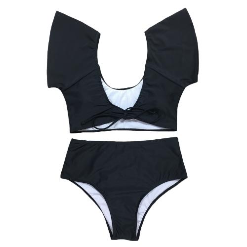 Sexy Women Bikini Set Swimsuit Push Up Swimwear Solid & Leopard & Stripe Bandage Beach Wear Bathing Suit