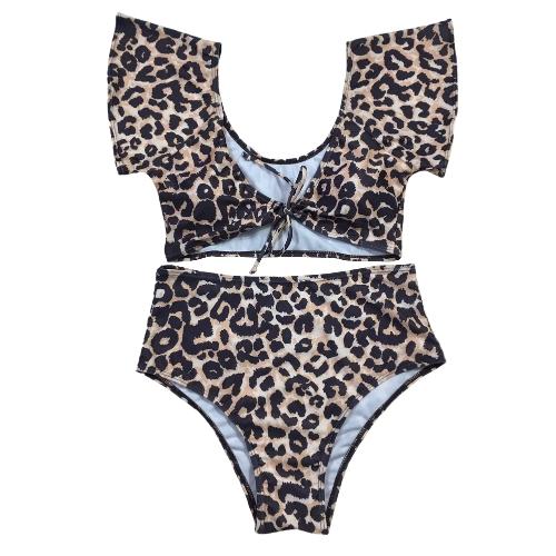 Bikini de mujer sexy conjunto de traje de baño push up traje de baño sólido y leopardo y banda de rayas traje de baño desgaste de la playa