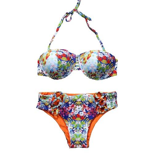 Frauen-zweiteiliger Bikini-gesetzter bunter Blumendruck-Halter gepolsterter Verband höhlen heraus niedrige Taille reizvoller Badeanzug aus