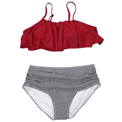 Bikini de las mujeres Set Ruffles de cintura alta acanalada acolchado de dos piezas traje de baño de traje de baño inalámbrico