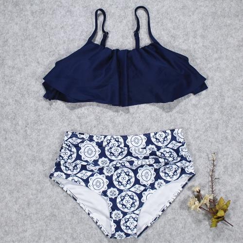 Женская бикини Комплект Ruffles высокой талии Ruched мягкой беспроводной двух частей купальник купальники фото