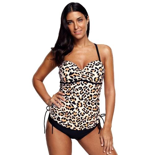 Mujeres de la manera Tankini Tankini Bikini Set Leopard Print tanga de cintura baja dos piezas traje de baño traje de baño