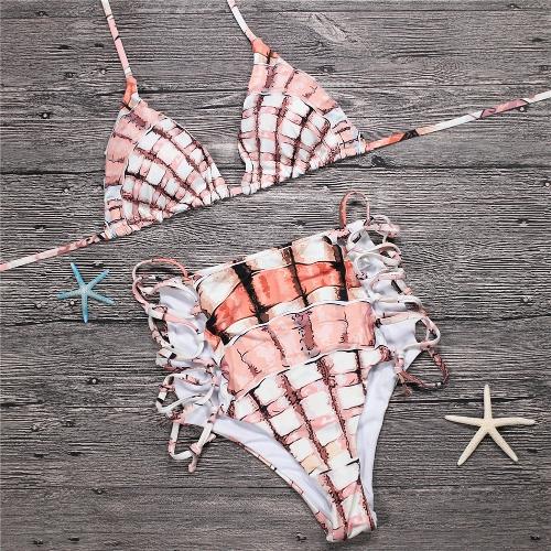 Women Two Piece Bikini Set Halter Plaid Print Padded Bandage Criss Over High Waist Sexy Bathing Suit