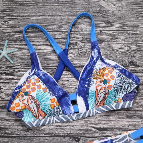 Sexy Women Brazilian Bikini Set Swimsuit Printed Swimwear Cut Out Bandage Padded Beach Wear Bathing Suit Blue