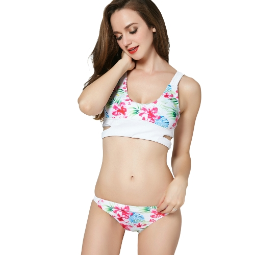 Frauen-Blumendruck-Badebekleidungs-Bikini-Satz höhlen heraus niedrige Taillen-Badeanzug-zweiteilige Badeanzug-Strand-Abnutzungs-Weiß aus