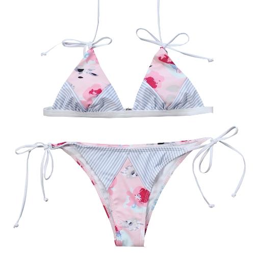 Sexy Women Bikini Set estampado floral a rayas Splice Strappy inalámbrico traje de baño trajes de baño de dos piezas