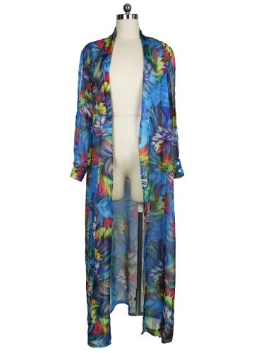 Sexy Women Chiffon Bikini Cover Up Impressão Floral Bohemia Cardigan Kimono Loose Outerwear Beachwear Verde / Azul