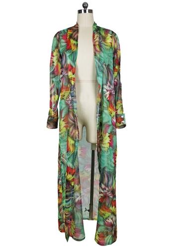 Sexy mujeres gasa Bikini Cover Up Floral Print Cardigan de Bohemia Kimono Suelto prendas de vestir exteriores ropa de playa verde / azul
