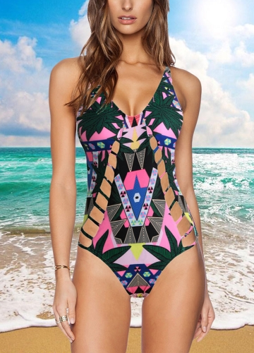 Sexy Women One-piece Hollow Out Backless Block Padded Swimwear