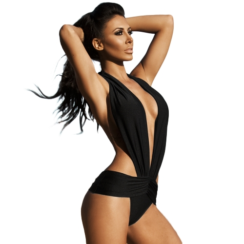 Sexy Women Swimsuit Deep V Halter Backless Swimwear Beach Shorts Manga Preto